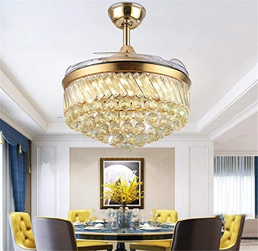 36 Crystal Ceiling Fan with LED Light and Remote, Luxury Crystal Chandelier Fan Pendant Lighting 3 Light Color 3 Speed for Dining Room Living Room Bedroom Gold