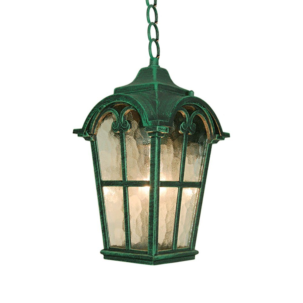 eTopLighting Victorian Collection Verde Green Finish Exterior Outdoor Lantern Light with Stamped Glass, Pendant APL1089 by eTopLighting