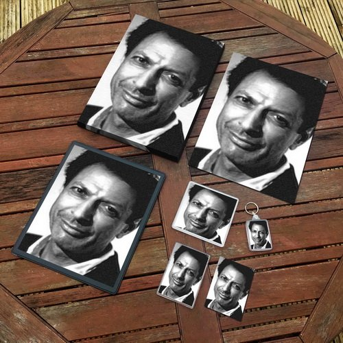 - JEFF GOLDBLUM - Original Art Gift Set #js001 (Includes - A4 Canvas - A4 Print - Coaster - Fridge Magnet - Keyring - Mouse Mat - Sketch Card)