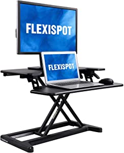 "FlexiSpot Stand Up Desk Converter -28 Inches Standing Desk Riser with Deep Keyboard Tray for Laptop (28"", Black, M7B)"