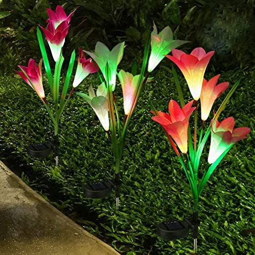Lampelc Solar Lights Outdoor, Upgraded Solar Garden Lights, Multi-Color Changing Lily Solar Flower Lights for Patio,Yard Decoration, Bigger Flower and Wider Solar Panel -3 Pack, Purple, Red and Yellow