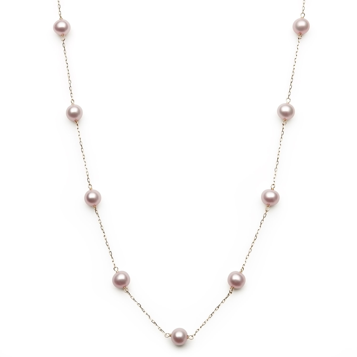 10k Yellow Gold Cultured Freshwater Pearl Station Necklace,18