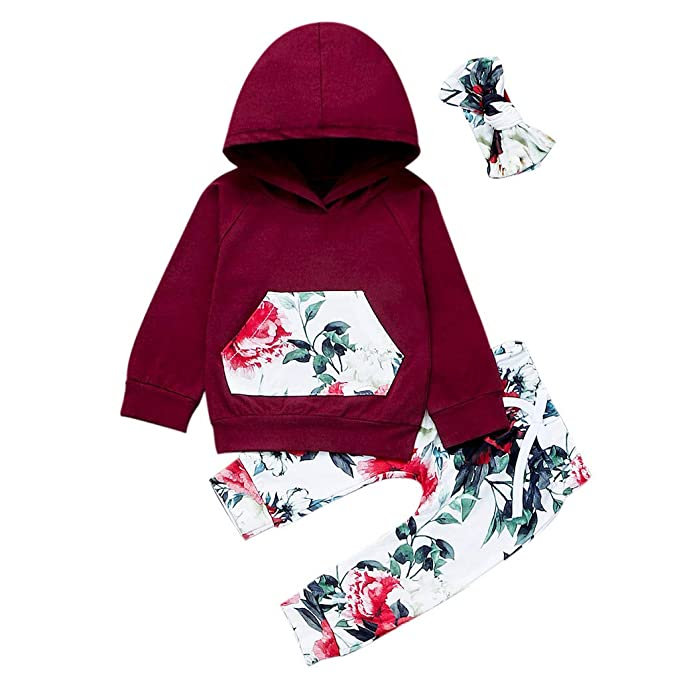 Newborn Toddler Baby Kids Boy Girl Unisex Hooded Tops Pants Outfit Set Clothes