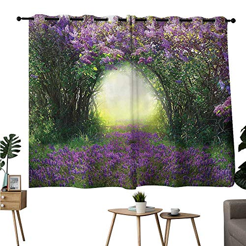 Brandosn Curtains,Extra Darkening Curtains Grommets Curtain for Bedroom Garden,Magic Misty Forest Spring Privacy Assured Window Treatment W72 x L72