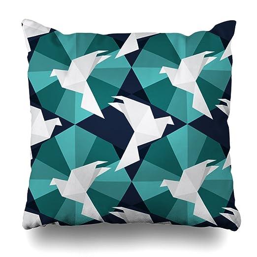 LILYMUA Origami Birds Funda de Almohada con Cremallera, 45 ...