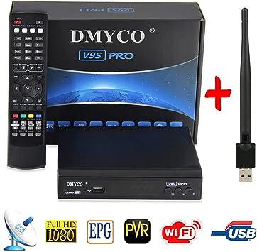 Receptor de TV Digital Satélite Decodificador DVB-S2 Full 1080P HD Soporte PowerVu Biss Key Youporn, [PVR vía USB] USB WiFi Antenna Incluido (V9S Pro)