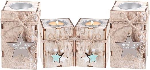 Amosfun 4 Piezas de Madera candelabro de Vela de Navidad ...