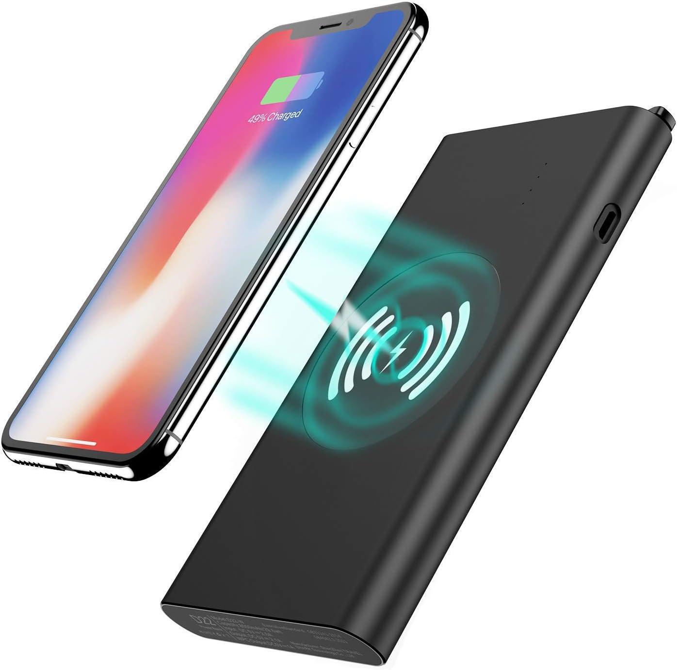 Tech Care - Cargador inalámbrico de Batería Recargable 3 en 1 DE 8000 mAh, Batería Qi inalámbrica para iPhone X/8/8 Plus, Samsung Galaxy S6/7/8, Note 7/8 y Más (Negro): Amazon.es: Electrónica