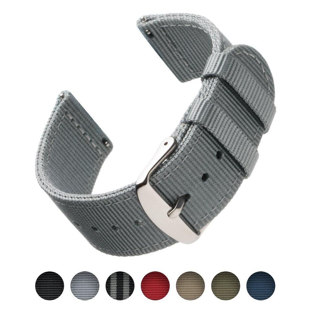 Archer Watch Straps | 高品質ナイロン クイックリリース 交換用時計バンド メンズレディース用 時計とスマートウォッチ | 複数色 18mm 20mm 22 mm 20mm グレー 20mm|グレー グレー 20mm B0741SYMRL