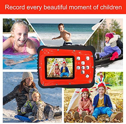 KIDS CAMERA, 3M WATERPROOF CAMERA WITH 2.0 INCH LCD DISPLAY,21MP HD DIGITAL CAMERA FOR CHILDREN INCLUDE 32G MICRO SD CARD AND FLOAT STRAP RED…
