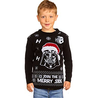 e85da28b89ad Xmas Star Wars Kids Vader Christmas Jumper Knitted Pullover Children ...