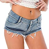 Bill&Candy Women's Sexy Hot Pants Low Waist Rise Side Straps Cheeky Mini Denim Shorts Clubwear (style3, Large)