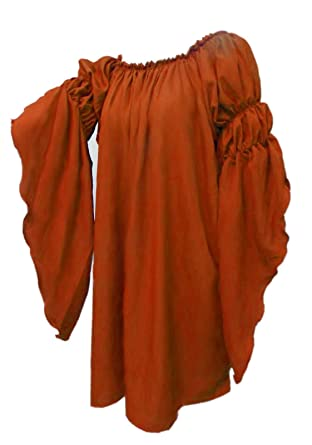 84320e42398f6 Amazon.com  Renaissance Medieval Peasant Dress up Pirate Faire Celtic Blouse  (Copper)  Clothing