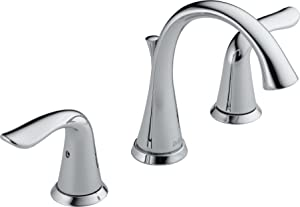 Delta Faucet Lahara 2-Handle Widespread Bathroom Faucet with Diamond Seal Technology and Metal Drain Assembly, Chrome 3538-MPU-DST
