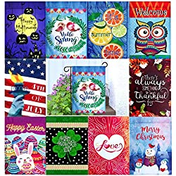 Wonder Home Supply 12 Double Sided Seasonal Holiday Garden Flags Set 12 x 18