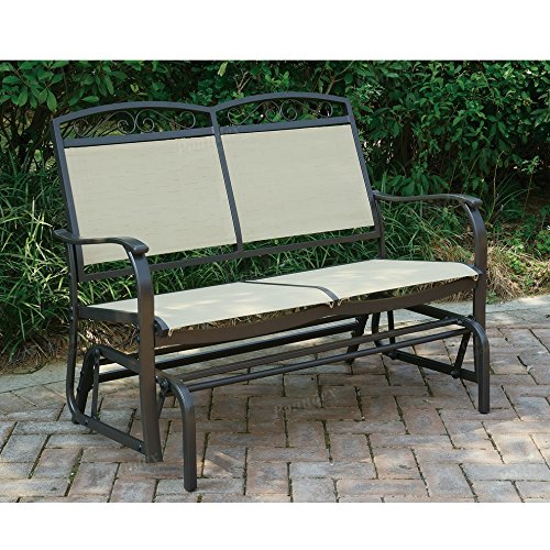 Advanced Furniture Outdoor Patio Swing Glider Loveseat Bench Aluminum ()