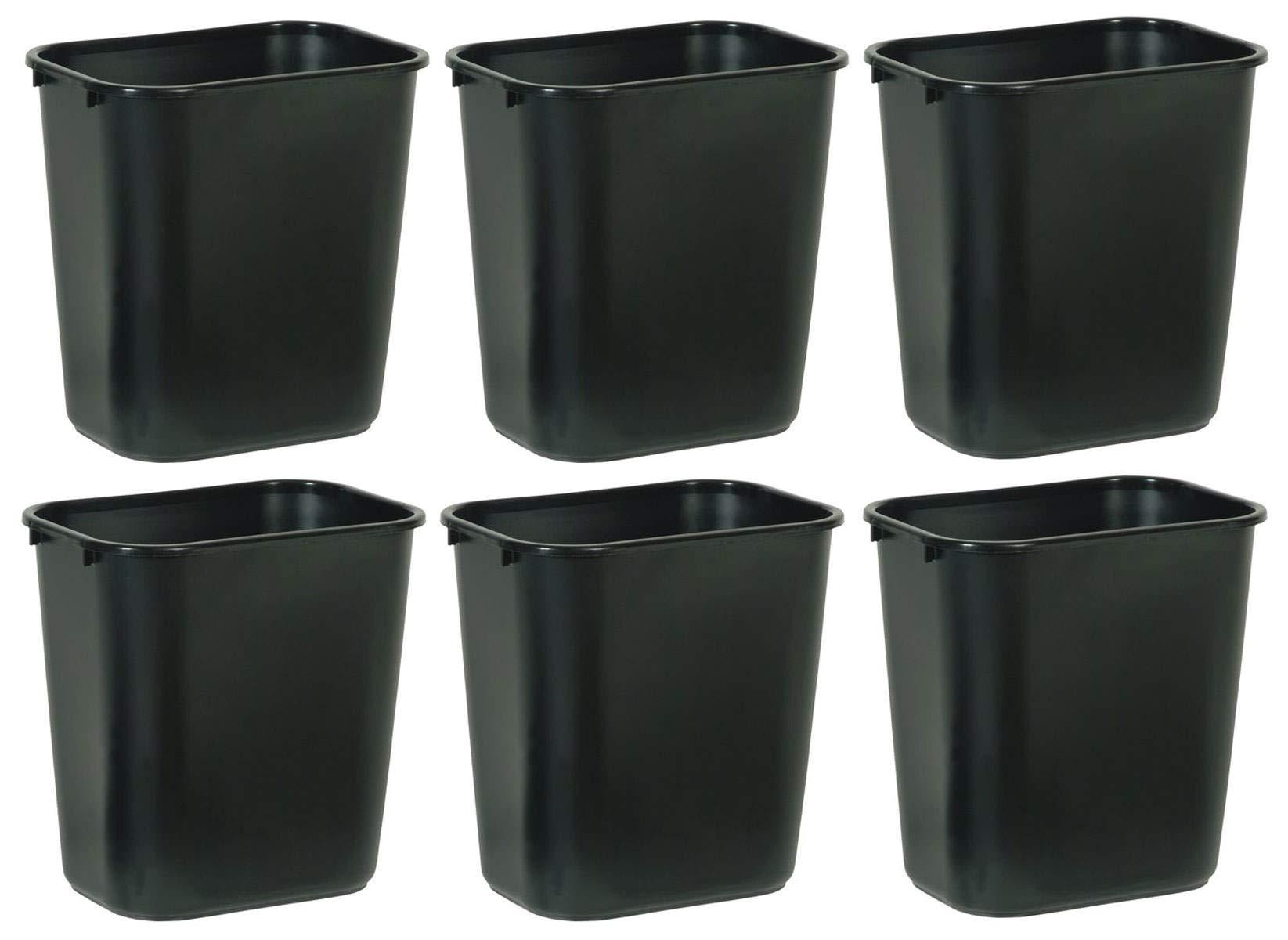 Rubbermaid Commercial Products SLTYGJHJ FG295600BLA Plastic Deskside Wastebasket, 28-1/8-quart, Black, 6 Pack