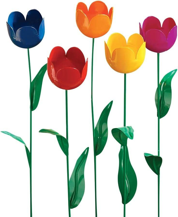 Fox Valley Traders Artificial Tulips Lawn Stakes, One Size Fits All, Multicolor