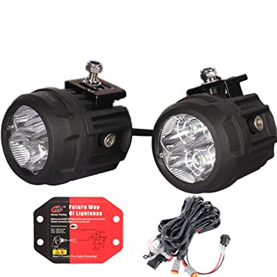 "HOUSE TUNING LED Spot Light 80W Kit - 2 Pack, 3 inch Round LED Accessory Lights with Wiring Harness,LED Fog Light For Utv Atv Motorcycle Jeep Trucks Off Road (80W Spot - 3"" Round): Automotive"