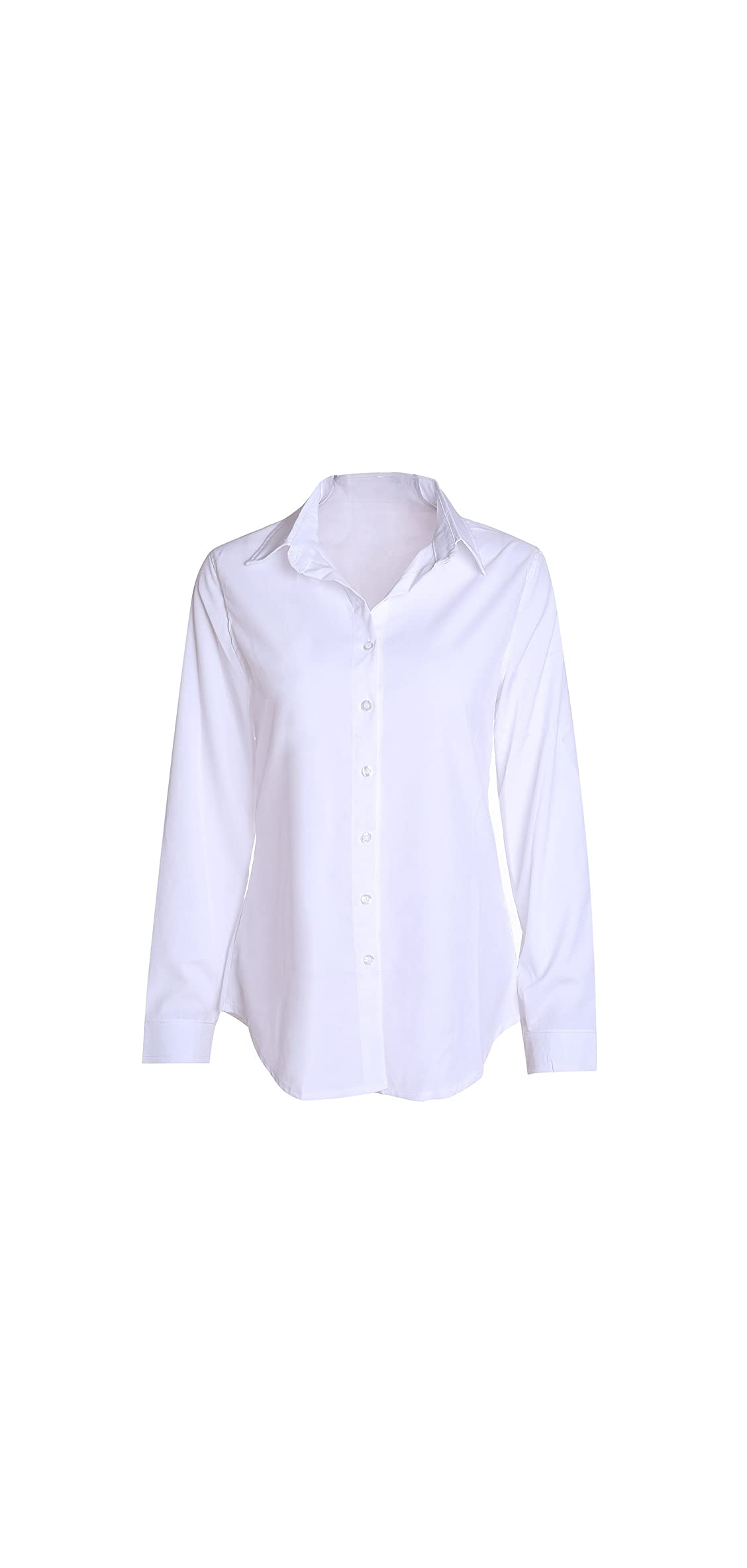Women Slim Shirt V Neck Long Sleeve Collared Button-down