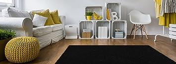Soft Shag Area Rug 5x7 Plain Solid Color BLACK   Contemporary Area Rugs For Living  Room