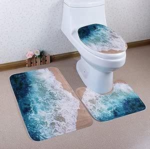 Romantic Creative High Quality Ocean/Shell/Tree/Feather Non-Slip Bathroom Bath Mat Set 3pcs Carpet + Pedestal Mat + Toilet Seat Cover Bathroom Decor,A2