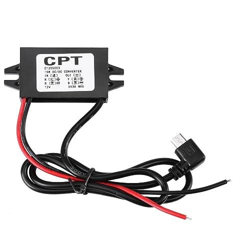 FTVOGUE Regulador de Voltaje Transformador DC 12V A 5V 3A Micro USB Cargador Macho Regulador Reductor para Smartphone para AutomóVil