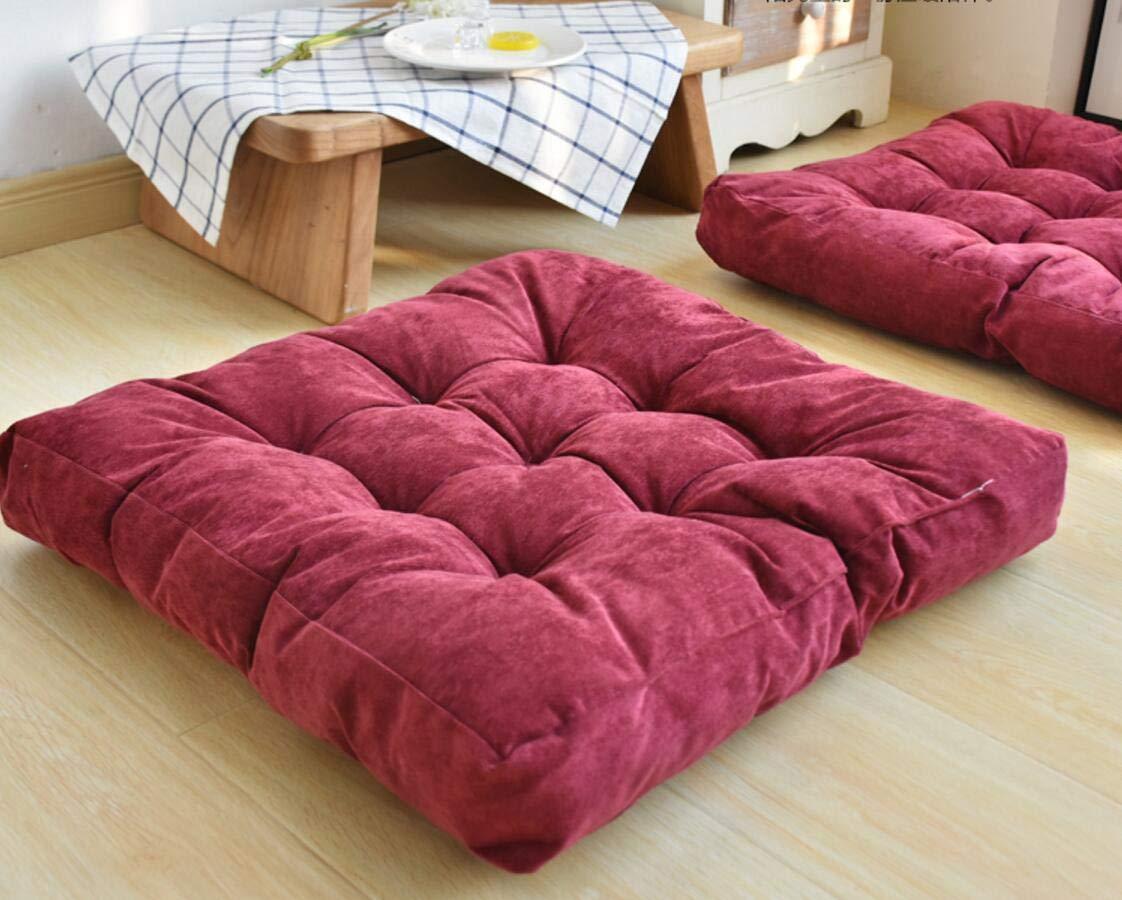 QTSL Tatami seat cushion 22x22inch Corduroy plush thick floor mat bay window cushion balcony yoga mat-A 55x55cm