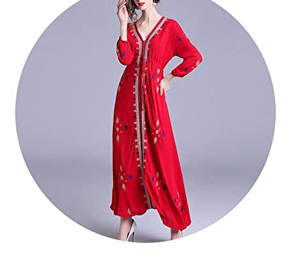Amazon.com: National Style Autumn Maxi Red Embroidered Dress Vestidos Casuales Mujer 2018 Bohemia K3140: Clothing