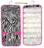 Best Zebra Animal Print with Pink Trim Hanging Jewelry Hanger Travel Bag Roll Case Organizer Kit Headband Set Women Teen Girl Kid Wife Last Minute Unique Summer Day Camp Supplies Gear Stuff Gift Idea