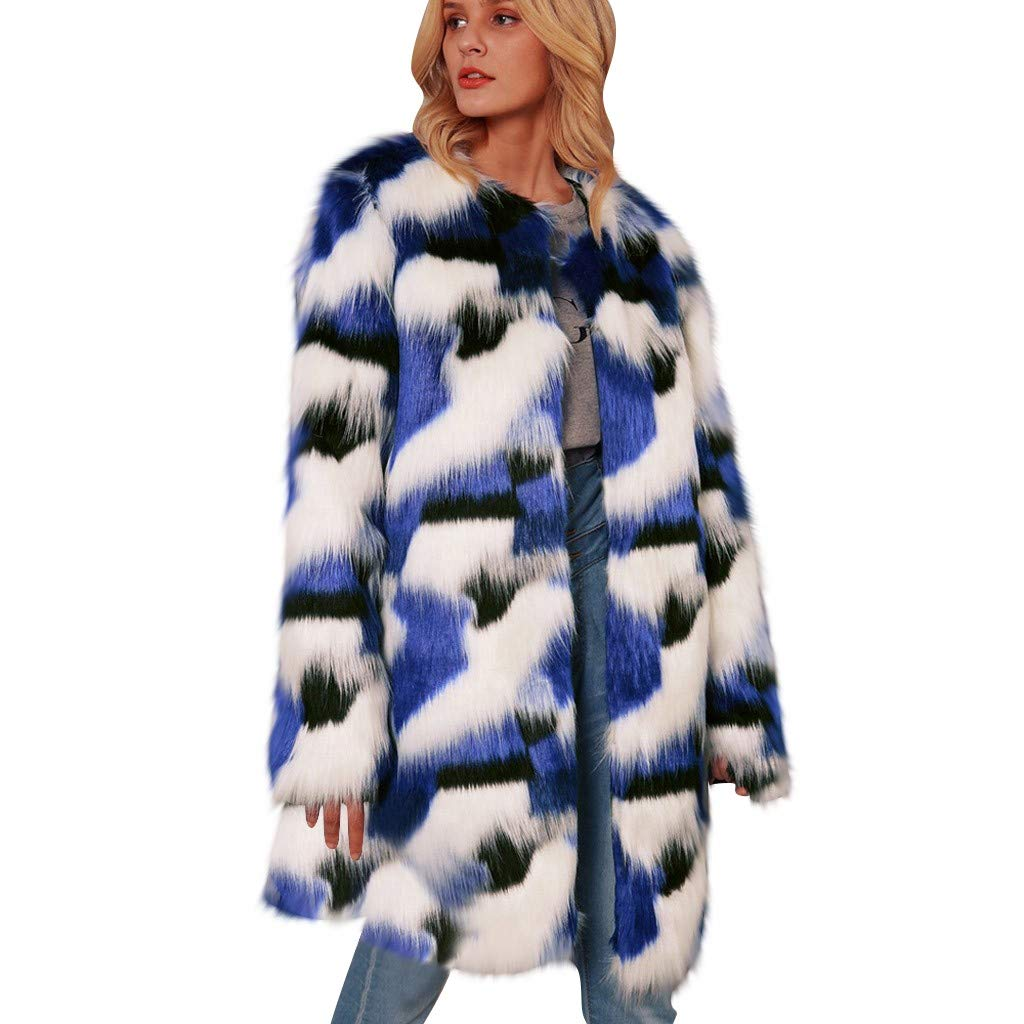 Wenini Women Fashion Fuzzy Coat Winter Autume Warm Color Block Faux Fur Long Jacket Coat Outwear by Wenini Women Coat