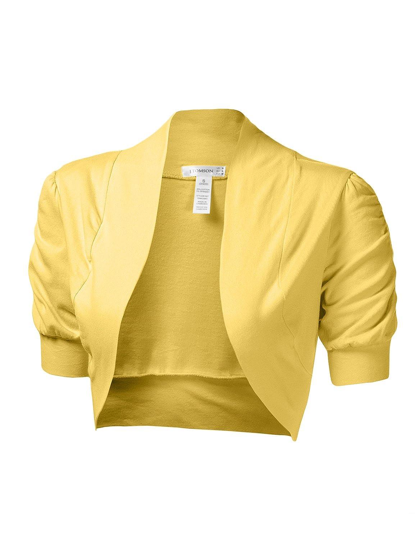 J.TOMSON Womens Trendy Short Sleeve Bolero Cardigan YELLOW L at ...