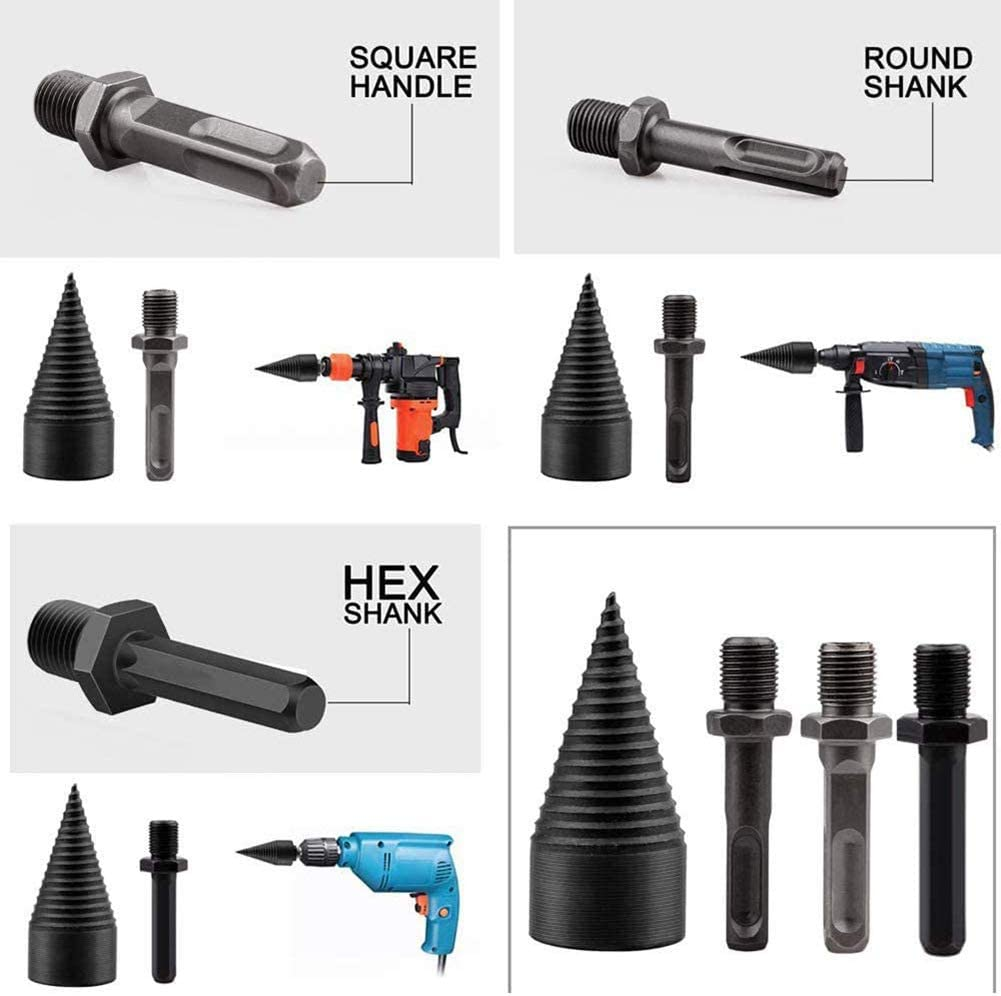 Firewood Kindling Splitter Screw for Household Electric Drill Hex+Square+Round STILLKEEPER Wood Splitter Drill Bit 3 pcs 32mm//1.26inch Removable Firewood Log Splitter Drill Bit Set