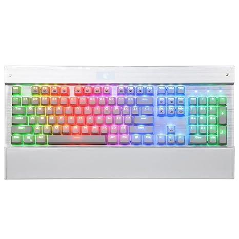 kasit teclado mecánico para juegos de pc con interruptores de color azul, 104Key White