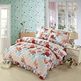 country style [Plant flowers] 100% Cotton [lace] quilt cover(Contains only a quilt)-D 160x210cm(63x83inch)