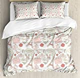 Paris Duvet Cover Set King Size by Ambesonne, French Pop Culture Lovers in Streets Bonjour Je T'aime Flower Pastel Life Image, Decorative 3 Piece Bedding Set with 2 Pillow Shams, Dried Rose Cream