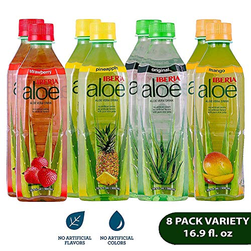 Iberia Aloe Vera Drink with Pure Aloe Pulp (Pack of 8) No Artificial Color & Flavor, Aloe Juice Variety Pack with Original, Mango, Pineapple & Strawberry, BPA Free