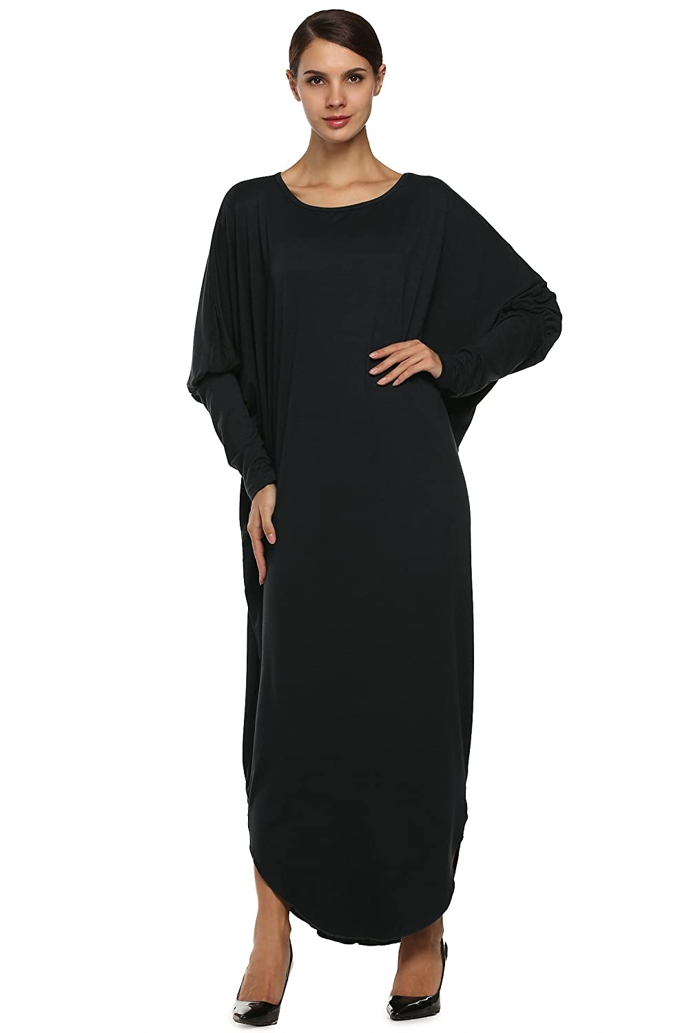 Angvns Women's Long Sleeve Casual Loose Batwing Jersey Maxi Long Party Dress