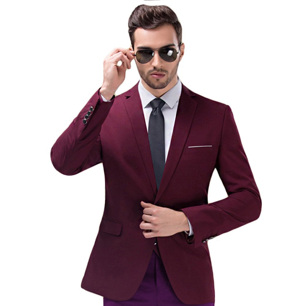 MAGE MALE Men's Slim Fit Blazer Casual One Button Flap Pockets Business Solid Sport Suits Jacket by MAGE MALE