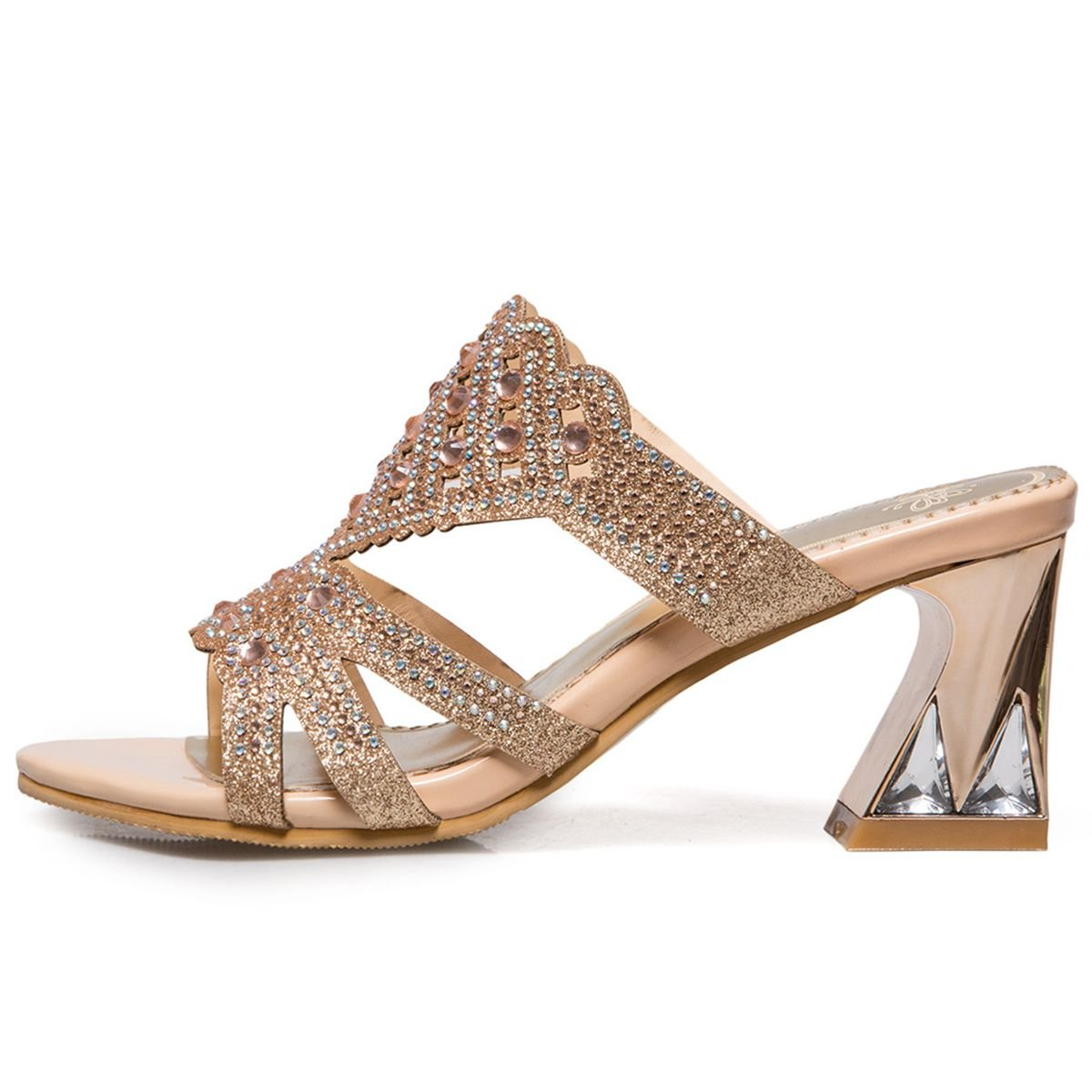 000818995fa ... Sarairis Women S Chunky Metal Metal Metal High Heel Slingback Summer  Shoes Peep Toe Rhinestone Casual Sandals ...