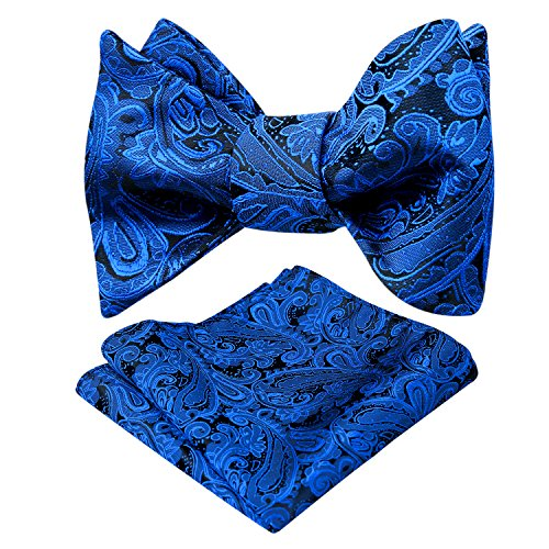 Blue Pattern Tie - Alizeal Mens Paisley Jacquard Self Bow Tie Pocket Square Set (Royal Blue)