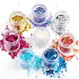 Naler 8pcs Chunky Sparkle Glitter, Face/Nail/Body Cosmetic Shinning Glitter, Halloween, Christmas, Birthday, Festival Party Decoration, 8 Colours