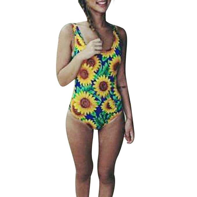 Amazon.com: Mujer de una pieza Monokini girasol impreso Cut ...
