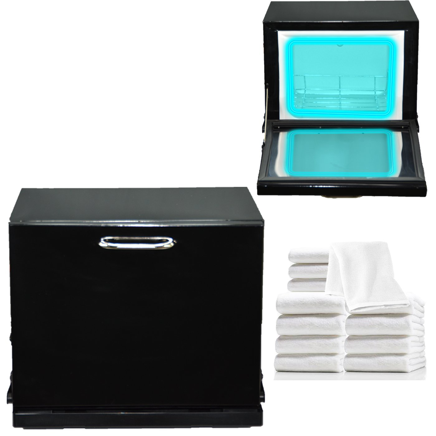 LCL Beauty Black Compact 2-in-1 Towel Warmer & Ultraviolet Sterilizer Cabinet (w/Towels)