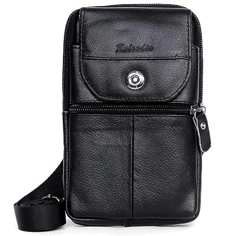 29de1850e Amazon.com: Leather Cellphone Holster Waist Belt Bag iPhone 8 Plus 7 Plus  Belt Clip Pouch Purse Carrying Case LG G7 (RO01 Black): ENCACC