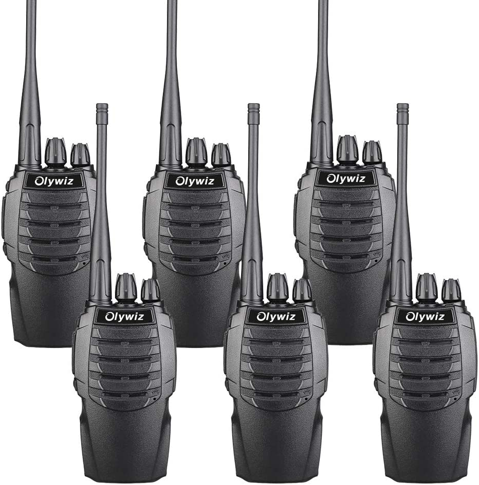 Olywiz HTD826 Two-Way Radio Walkie Talkies for Adults Long Range Rechargeable 1800mAH Battery Ultra-Long Standby Loud Clear Dual Desktop Charger with USB Cable 6 Pack