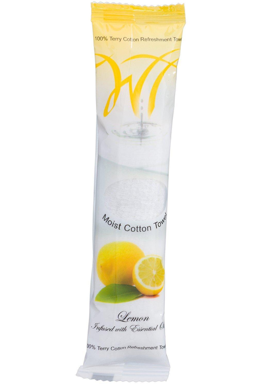 Moist Cotton Towel - Lemon (Case of 50) by White Towel, 8x8