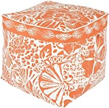Surya KSPF-001 Kate Spain 100-Percent Cotton Pouf, 18-Inch by 18-Inch by 18-Inch, Poppy/Ivory