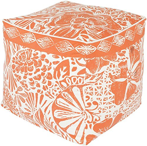 Surya KSPF-001 Kate Spain 100-Percent Cotton Pouf, 18-Inch by 18-Inch by 18-Inch, Poppy/Ivory by Surya