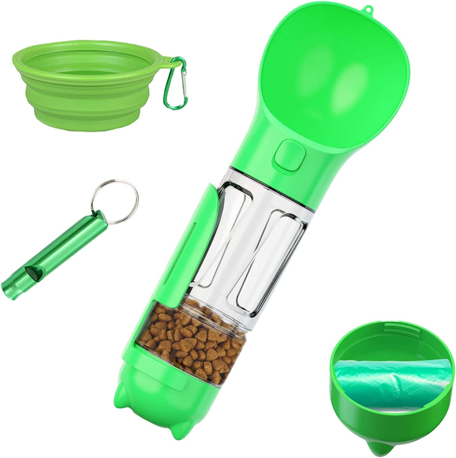 KAYUSITER Dog Water Bottle,4 IN1 Portable Pet Water Dispenser with Food Container Poop Shovel Garbage Bag for Travel Collapsible Dog Bowl and Dog Whistle